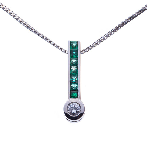 14 Kt White Gold Diamond and Emerald Necklace