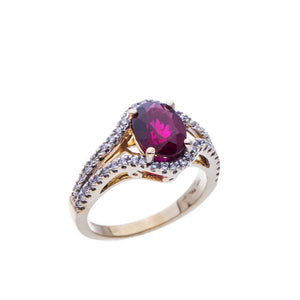 Oval Rubelite Tourmaline and Yellow Gold Diamond Ring