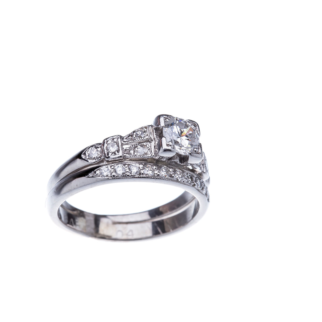 Platinum Vintage Inspired Engagement Ring