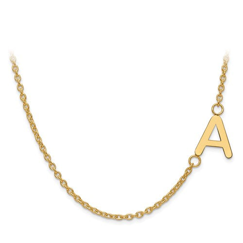 Beautiful and Dainty Off Set Initial Necklace in 14kt Gold