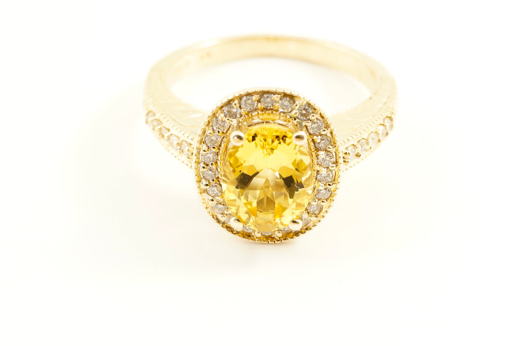 Citrine Ring 1.88 Carat with 32 Round Diamonds