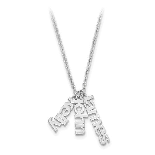 Personalized Necklace With 3 Names in Block Dangle Letters