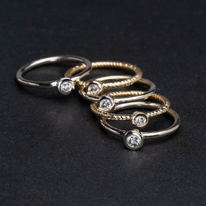 Diamond Bezel Set Stackable Rings