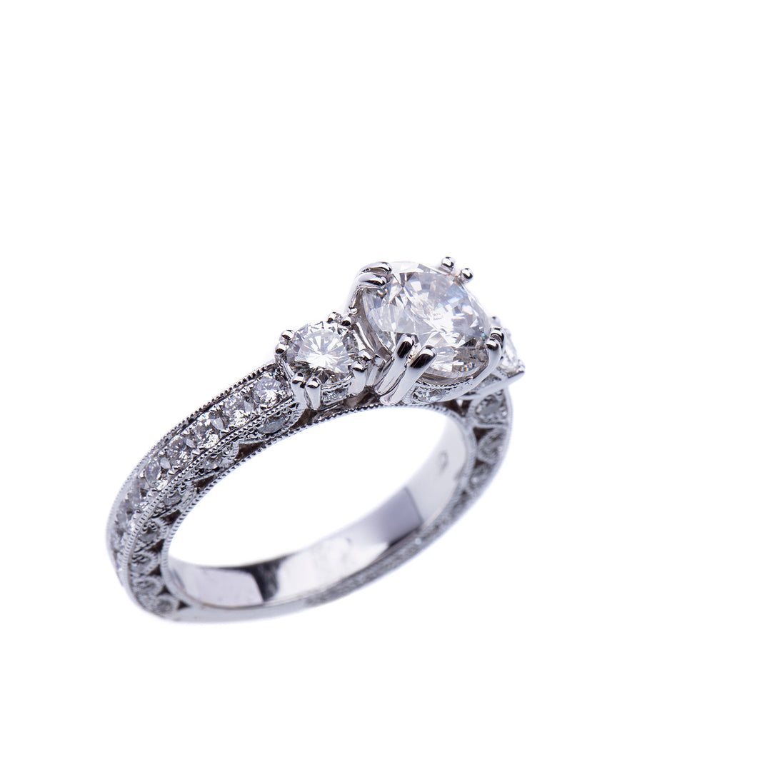 2.72 CTW Engagement Ring 18 Kt White Gold