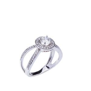 Halo Split Shank Engagement Ring