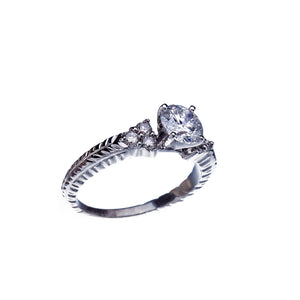 Over 1Ct Diamond Vintage Inspired Engagement Ring