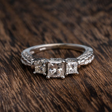 Load image into Gallery viewer, 3 Stone Princess Cut Engagement Ring