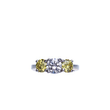 Load image into Gallery viewer, 3 Stone Diamond Engagement Ring With Fancy Yellow Diamonds