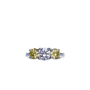 3 Stone Diamond Engagement Ring With Fancy Yellow Diamonds