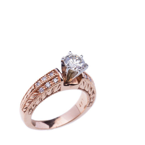 0.89Ct Certified Diamond Rose Gold Engagement Ring