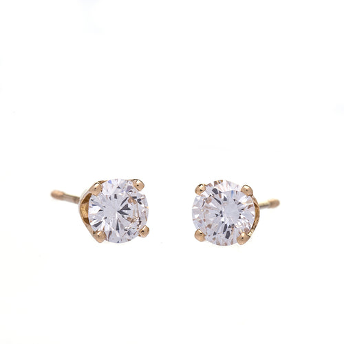 1 Carat T.W. Diamond Solitaire Stud Earrings Yellow Gold