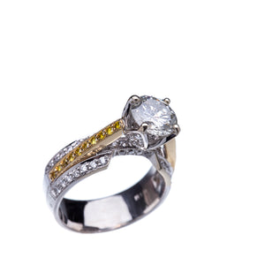 2.23 CTW Diamond 18 Kt Yellow/White Gold Engagement Ring