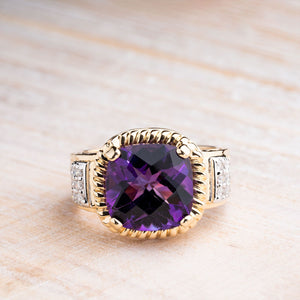 Dramatic Amethyst Surrounded by 1/4 CTW in Diamonds