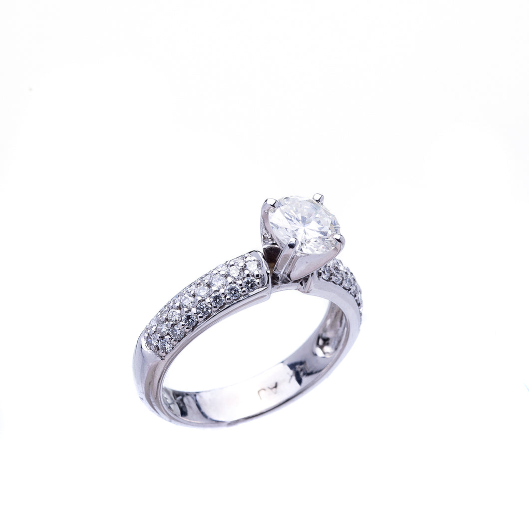 Stunning Round Brilliant Pavé Style Engagement Ring