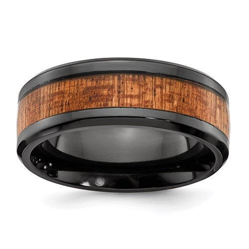 Unique Black Zirconium Polished With Wood Inlay Mens Ring