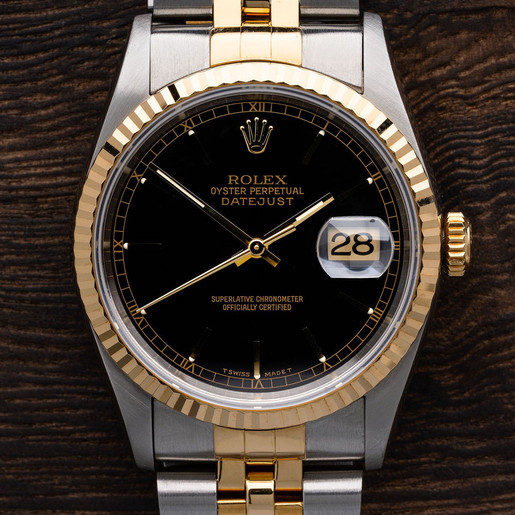Rolex Two Tone DateJust With Black Dial