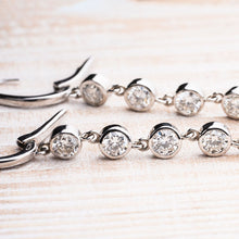 Load image into Gallery viewer, Glamorous Diamond Bezel Set Dangle Earrings