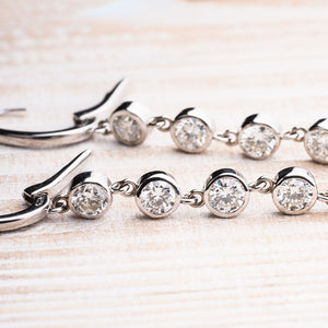 Glamorous Diamond Bezel Set Dangle Earrings