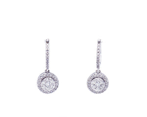 Diamond Cluster Dangle Earrings
