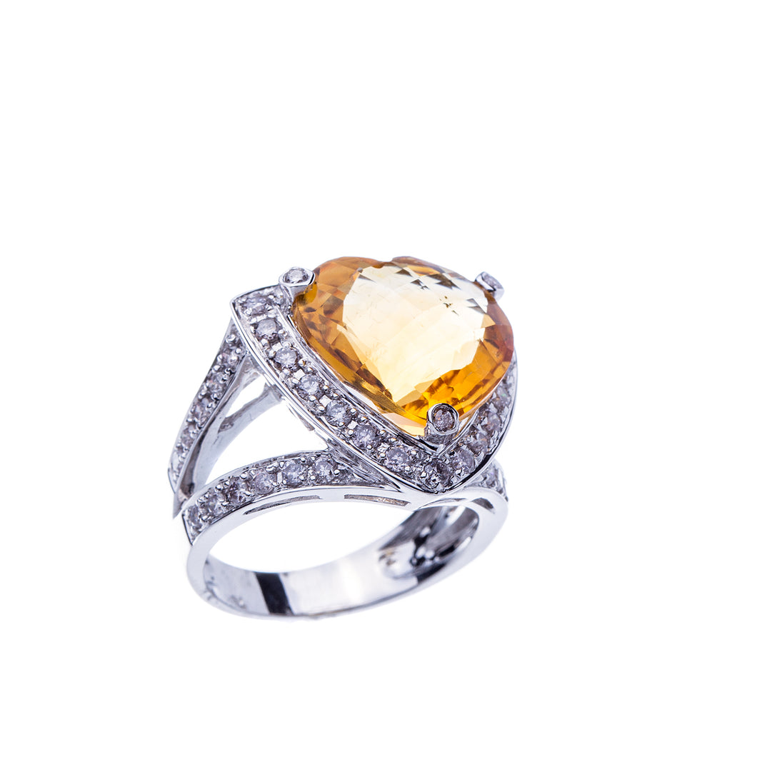 Womens 8 Carat Heart-Shaped Citrine Fashion Ring