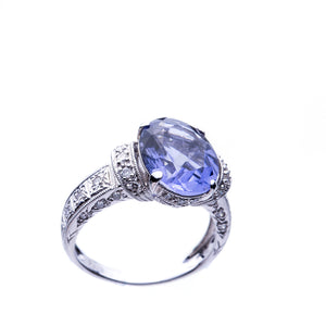 Iolite 2.51 Carat Oval and Diamond Ring 18K White Gold