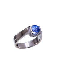 Load image into Gallery viewer, Sapphire and Diamond White Gold Ring