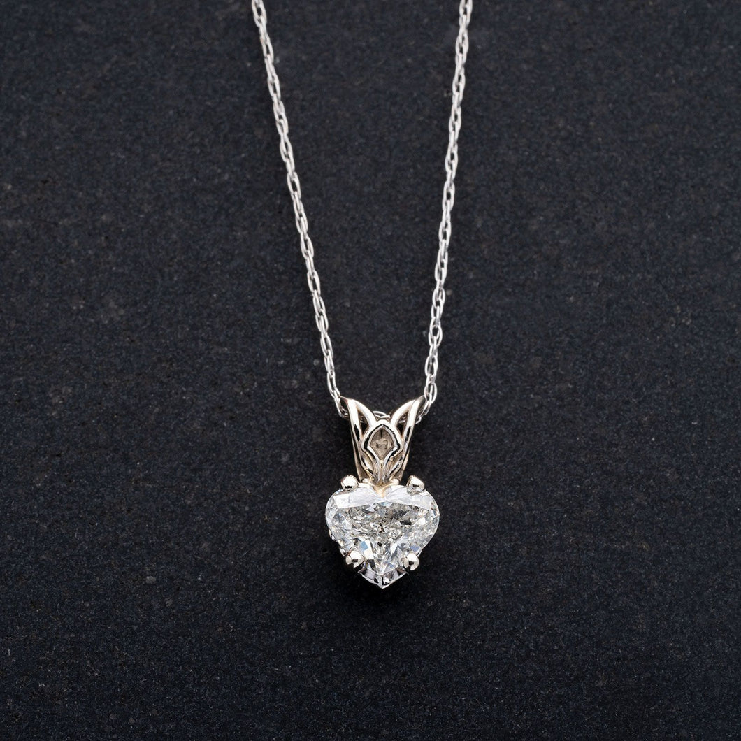 Heart Shaped Diamond Pendant Necklace