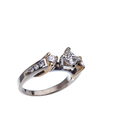 Princess Cut Kite Set Engagement Ring