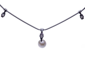 Jose Hess Diamond and Pearl Necklace