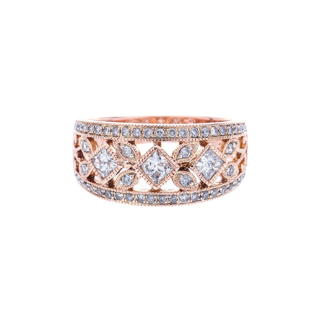 Ladies Rose Gold Princess and Diamond Fashion Ring