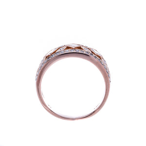 Ladies Rose Gold Diamond Fashion Ring