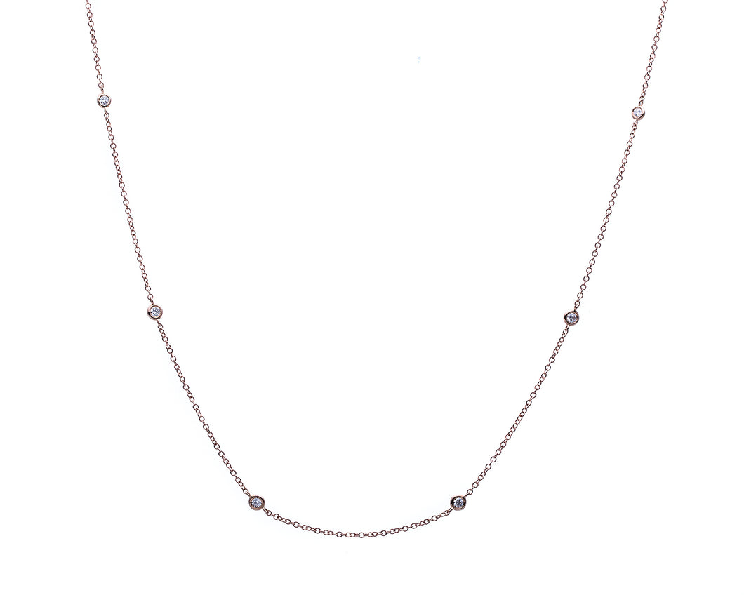 18 Kt Rose Gold Diamonds by the Yard Necklace