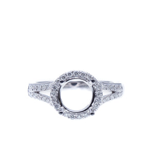 18 Kt White Gold Halo Semi-Mount