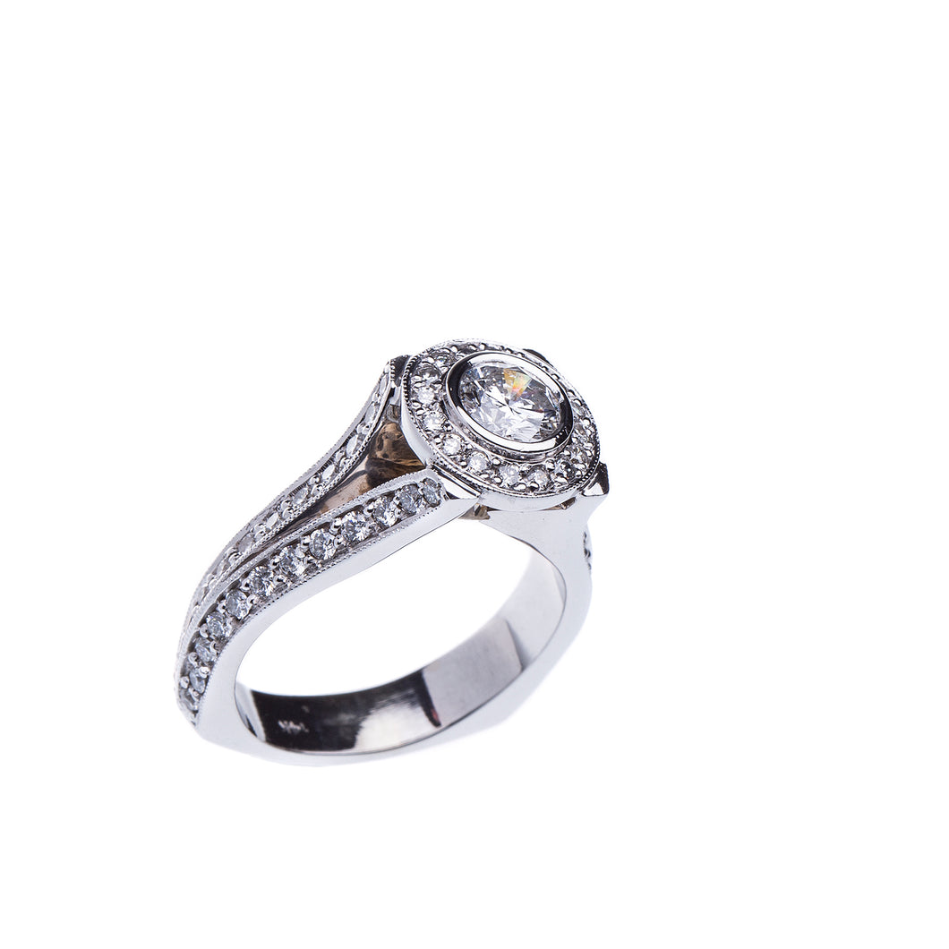 Incredible Bezel Set Modern Split Shank 2.34 CTW Diamond Engagement Ring