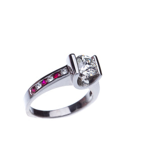 GIA Certified Diamond Engagement Ring with Rubies