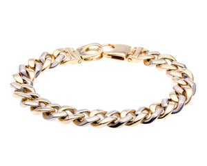 14 Karat White and Yellow Gold Mens Cuban Link Bracelet
