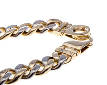 Load image into Gallery viewer, 14 Karat White and Yellow Gold Mens Cuban Link Bracelet