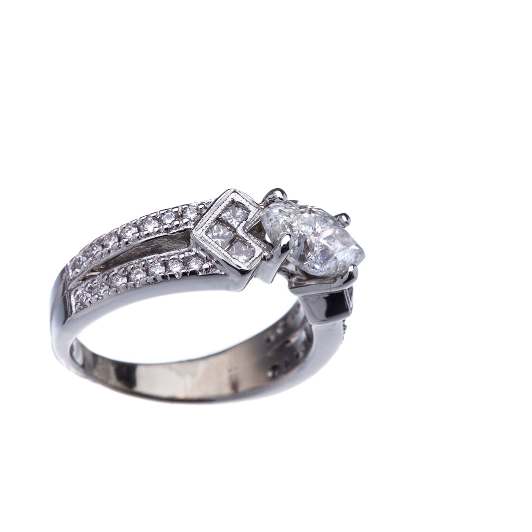 Beautiful Marquise Split Shank Diamond Engagement Ring