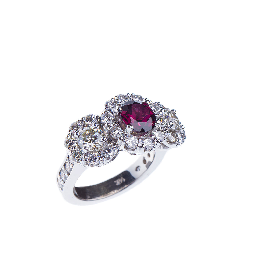 Ladies Garnet and Diamond Ring