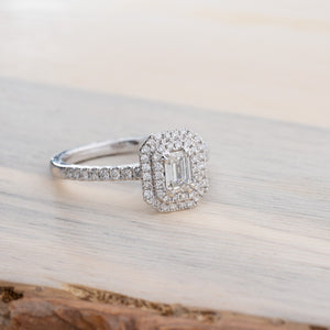 Sparkling Emerald Cut Double Halo Diamond Engagement Ring