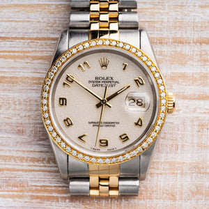 Exceptional Rolex Two Tone DateJust with Jubilee Dial & 1/2CTW Diamond Bezel