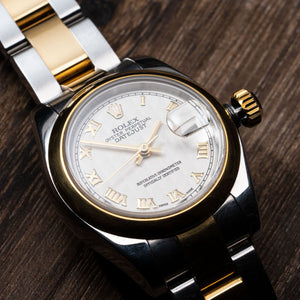 Rolex Two Tone DateJust Roman Numerals Watch