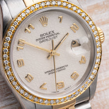 Load image into Gallery viewer, Exceptional Rolex Two Tone DateJust with Jubilee Dial & 1/2CTW Diamond Bezel