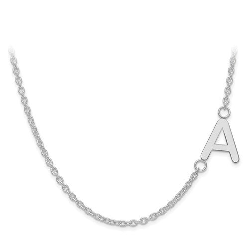 Custom Off Set Initial Letter Necklace in Sterling Silver