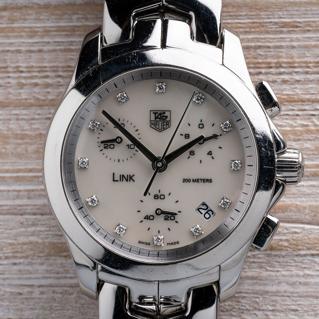 TAG Heuer Link Mother of Pearl Dial with Diamond Hour Markers