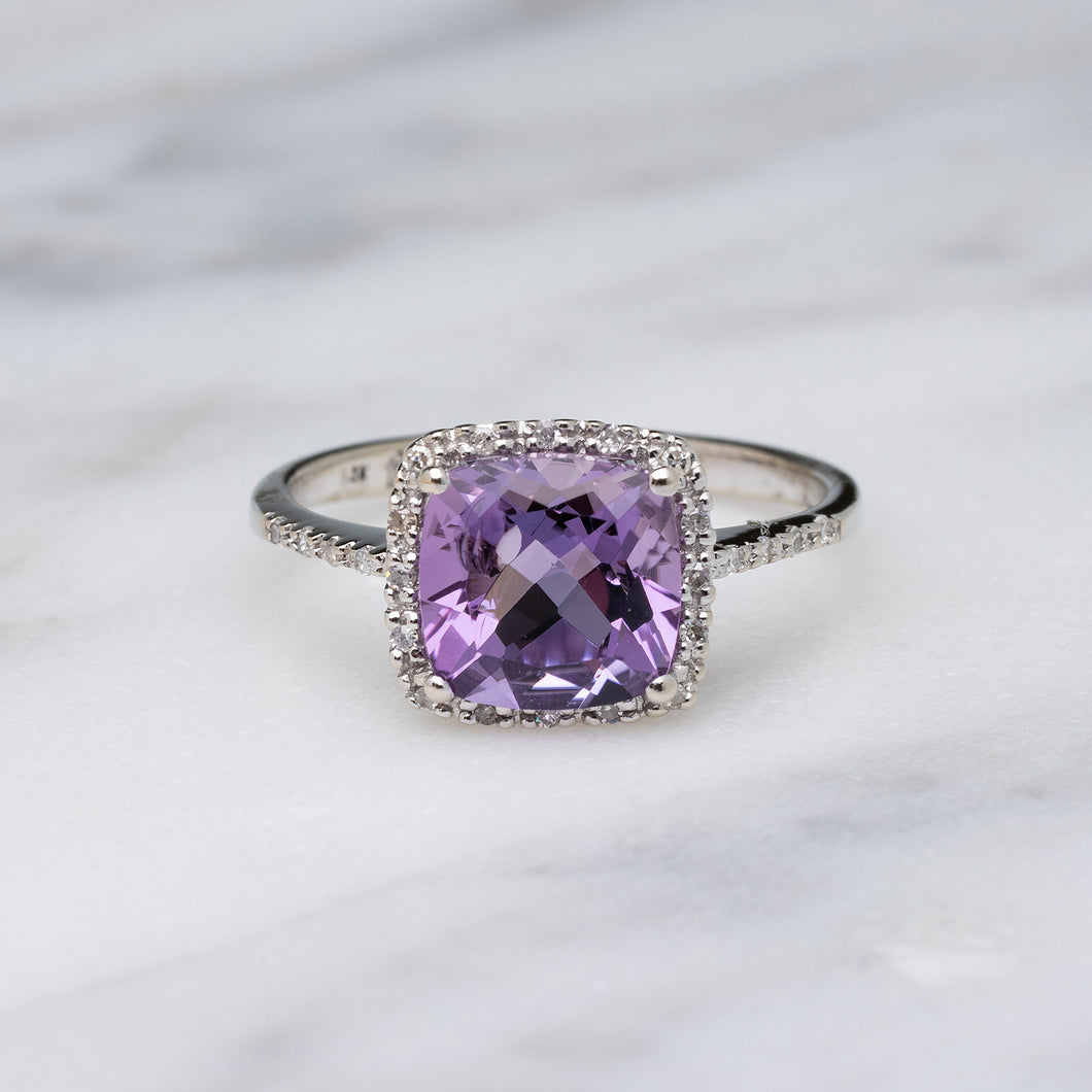 Cushion Cut Amethyst & Diamond Fashion Ring
