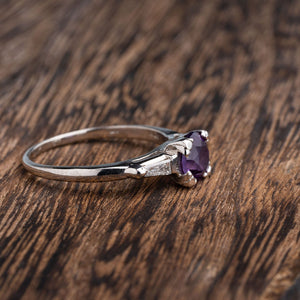 Platinum Amethyst and Baguette Fashion Ring