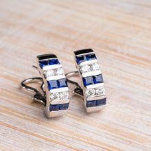 Load image into Gallery viewer, Blue Sapphire and Diamond Hoop Earrings