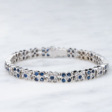 Load image into Gallery viewer, Lovely Diamond and Blue Sapphire Flower Design Bracelet