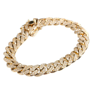 14Kt Yellow Gold Cuban Link Bracelet with 4CTW Diamonds